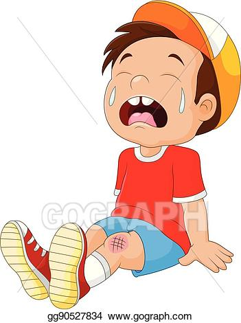 Vector stock cartoon crying. Knee clipart wounded boy
