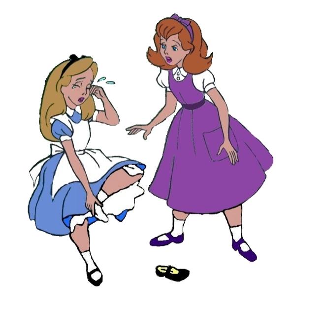 Hurt clipart hurt girl. Alice hurts her foot