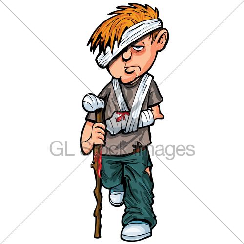 Cartoon white man with. Hurt clipart injured child