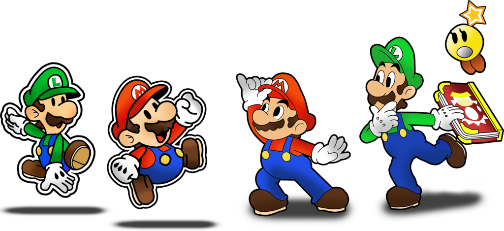 Mario and paper jam. Hurt clipart luigi