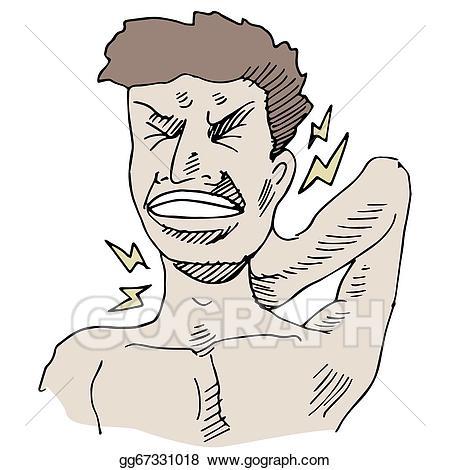 Hurt clipart neckache. Vector illustration neck pain