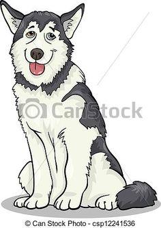 Husky clipart. Cartoon siberian alaskan malamute
