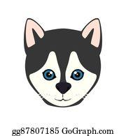 Husky clipart canine. Vector dog illustration gg
