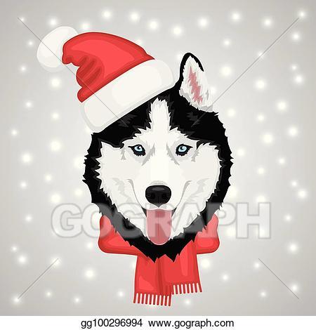 Vector illustration dog eps. Husky clipart christmas