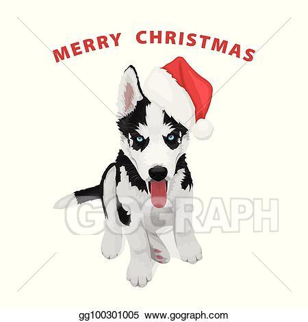 Husky clipart christmas. Vector stock puppy illustration