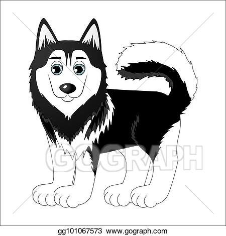 Vector stock cartoon illustration. Husky clipart cute