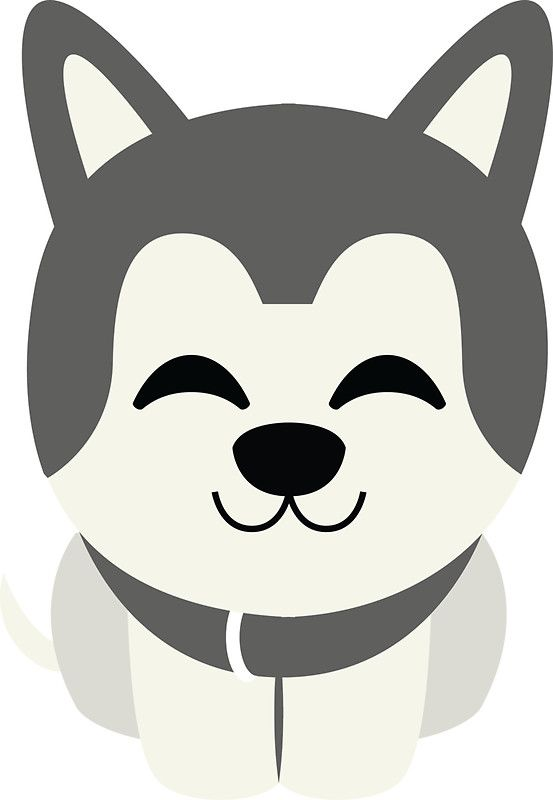 Siberian delighted cheerful look. Husky clipart emoji