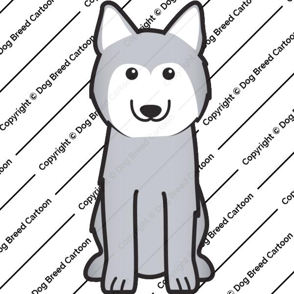 Siberian silver breed cartoon. Husky clipart gray dog