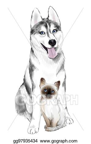 Eps vector white and. Husky clipart gray dog