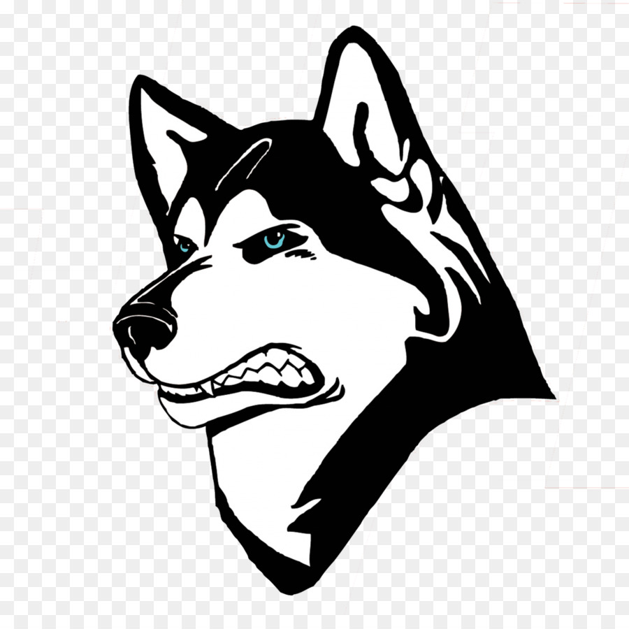 Husky clipart huskie. Black line background sports