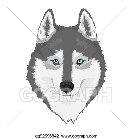 Vector stock siberian dog. Husky clipart husky eye