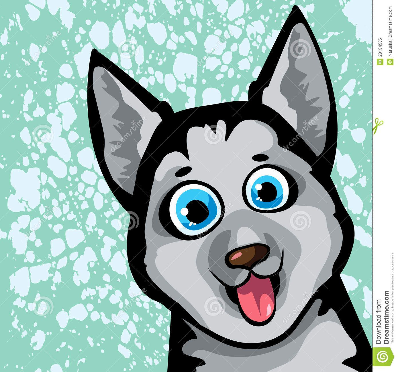 Cartoon images funny dog. Husky clipart husky eye