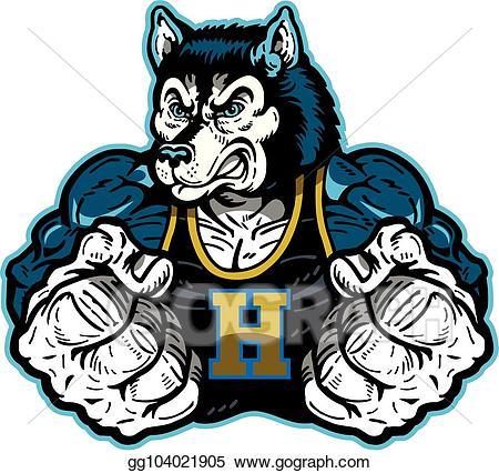 Husky clipart mascot. Eps vector stock illustration