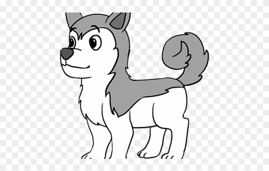 Husky clipart simple drawing. Drawn easy draw of