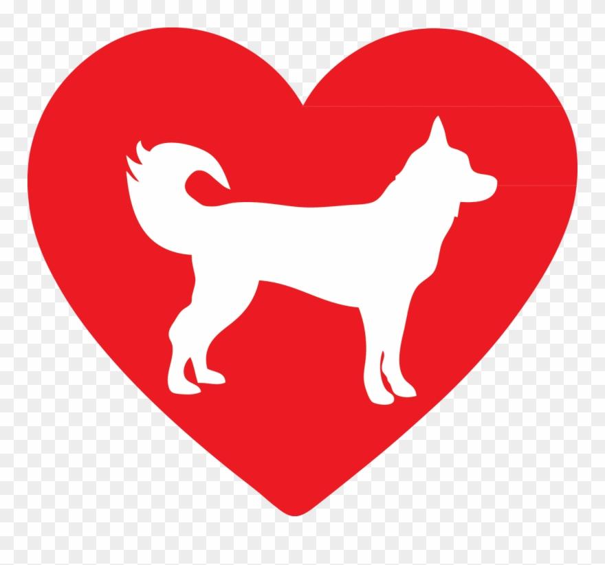 Heart siberian dogs corgis. Husky clipart snow dog