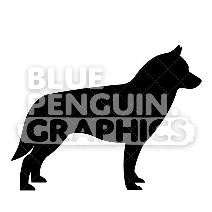 Husky clipart vector. Siberian silhouettes cartoon illustration
