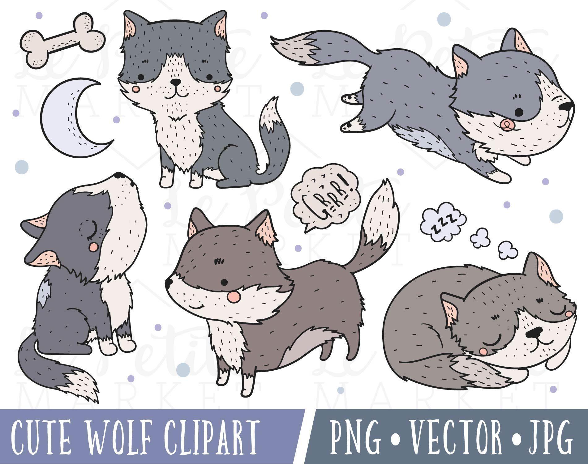 Cute images clip art. Wolf clipart husky