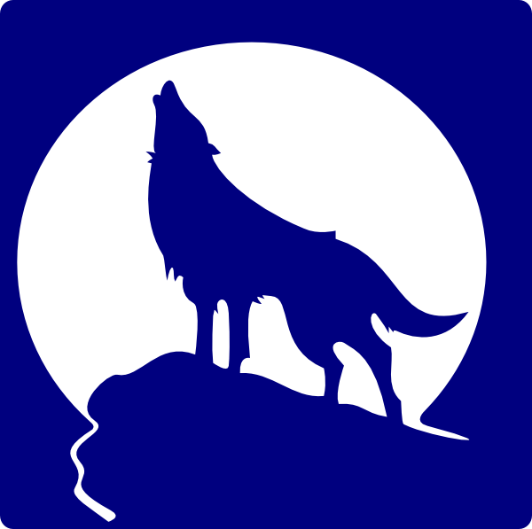 Logo blue wolf howling. Wolves clipart husky