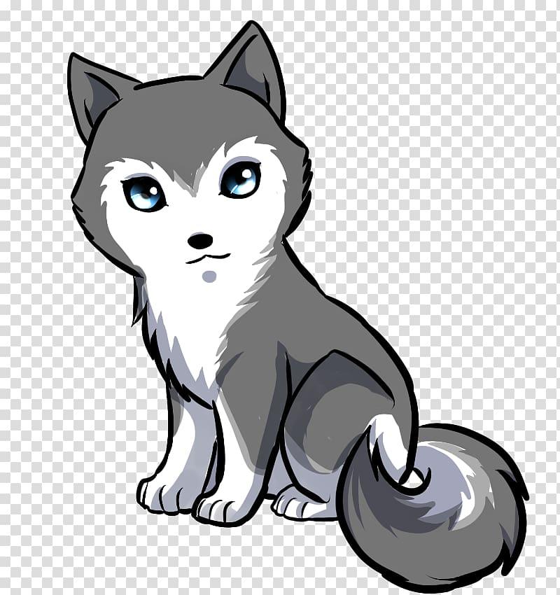 Gray illustration siberian puppy. Wolf clipart husky