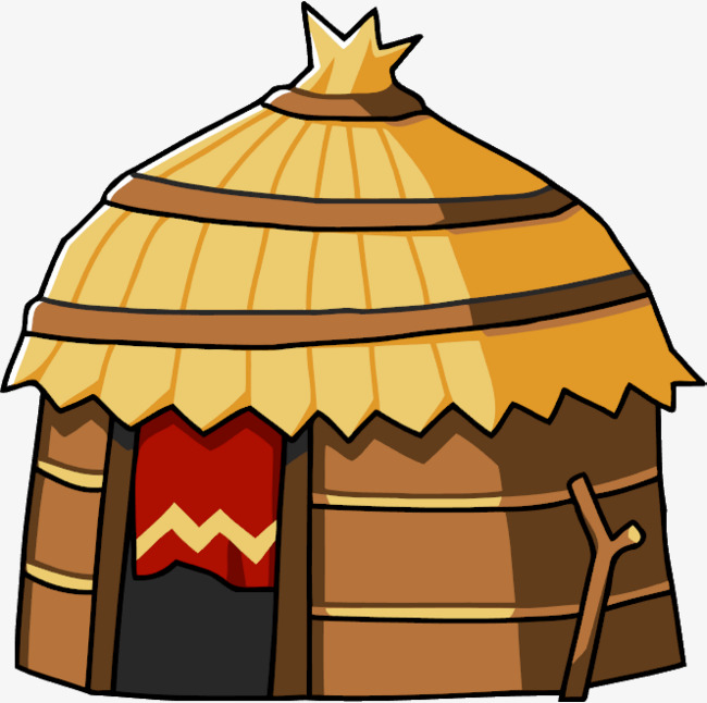 Hut clipart. Cartoon tribal africa cottage