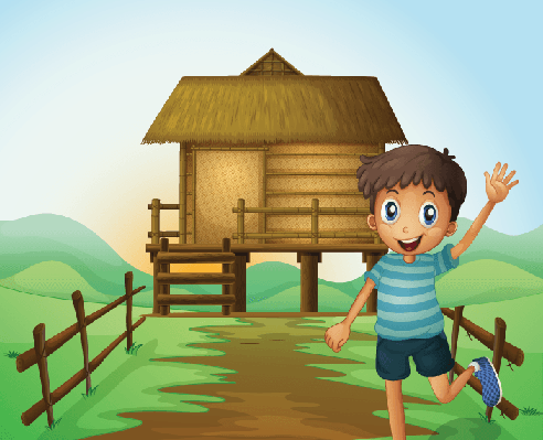 Hut clipart. Boy with a hat