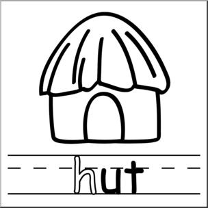 Clip art basic words. Hut clipart