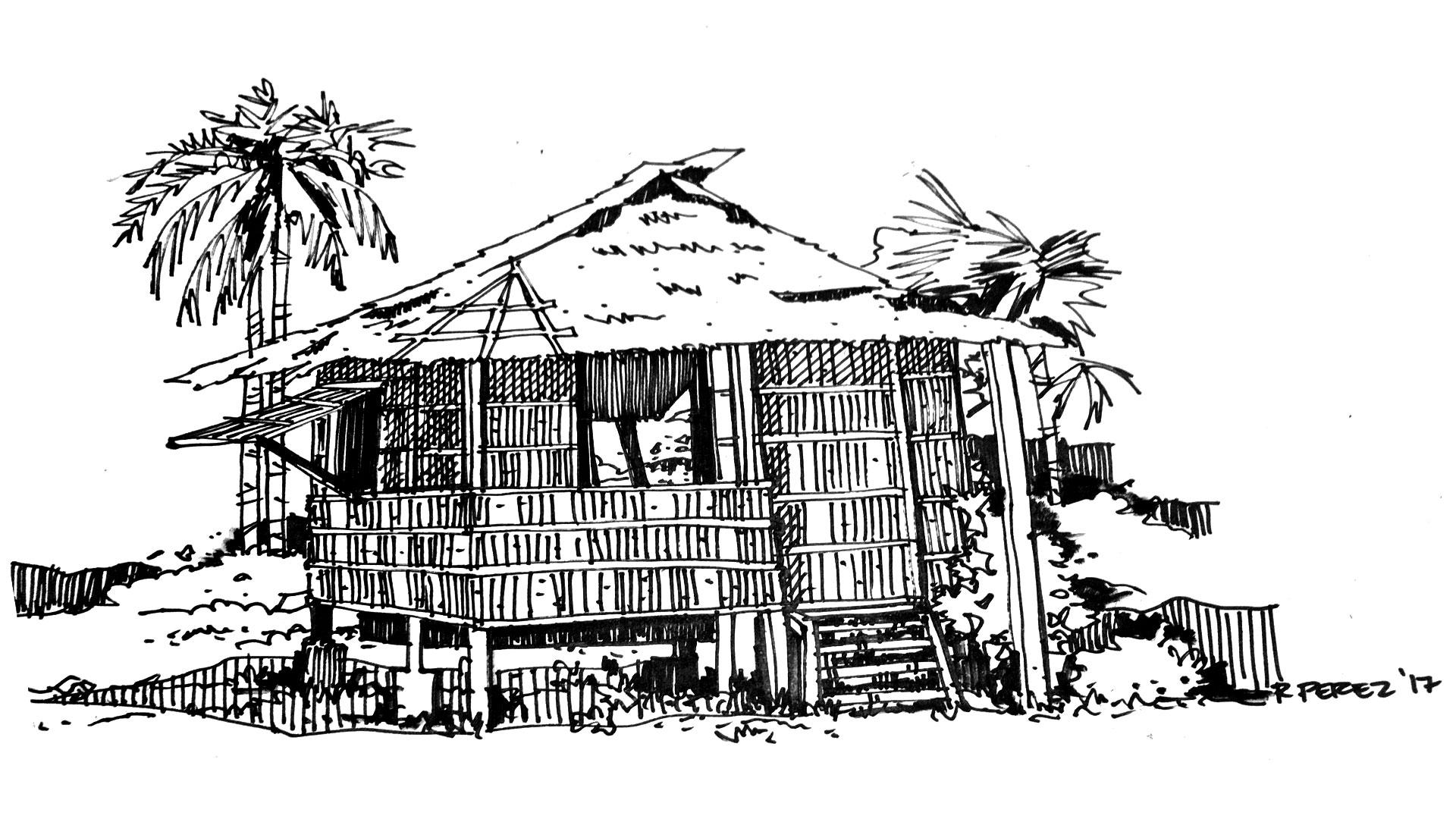 Nipa sketch at paintingvalley. Hut clipart bahay