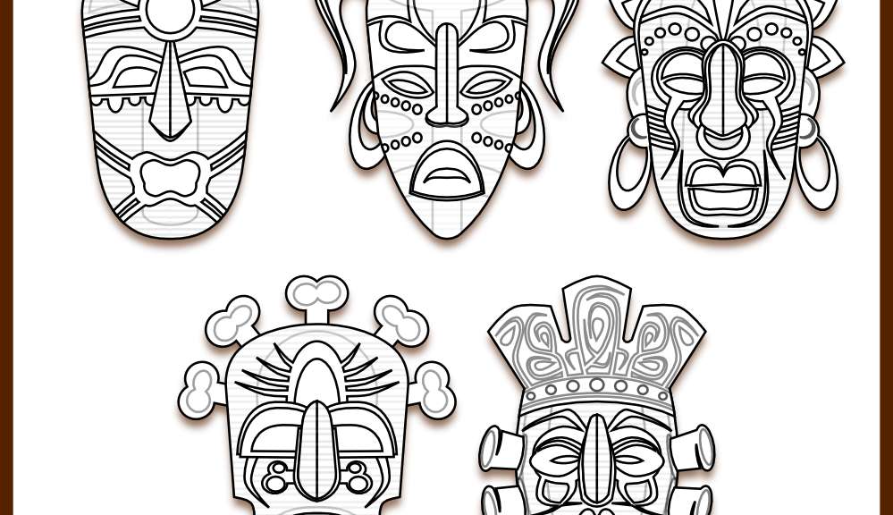 Hut clipart colouring page. Tiki mask coloring pages
