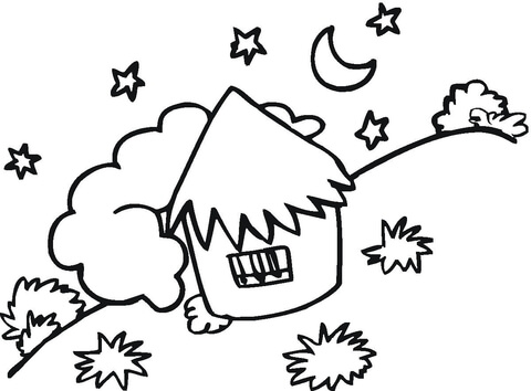 Little coloring free printable. Hut clipart colouring page