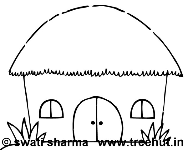 Hut clipart colouring page. House coloring pages