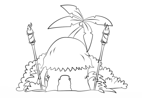 Tiki with torches coloring. Hut clipart colouring page