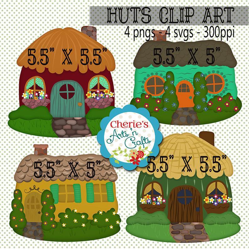 Hut clipart cute. Huts clip art digital