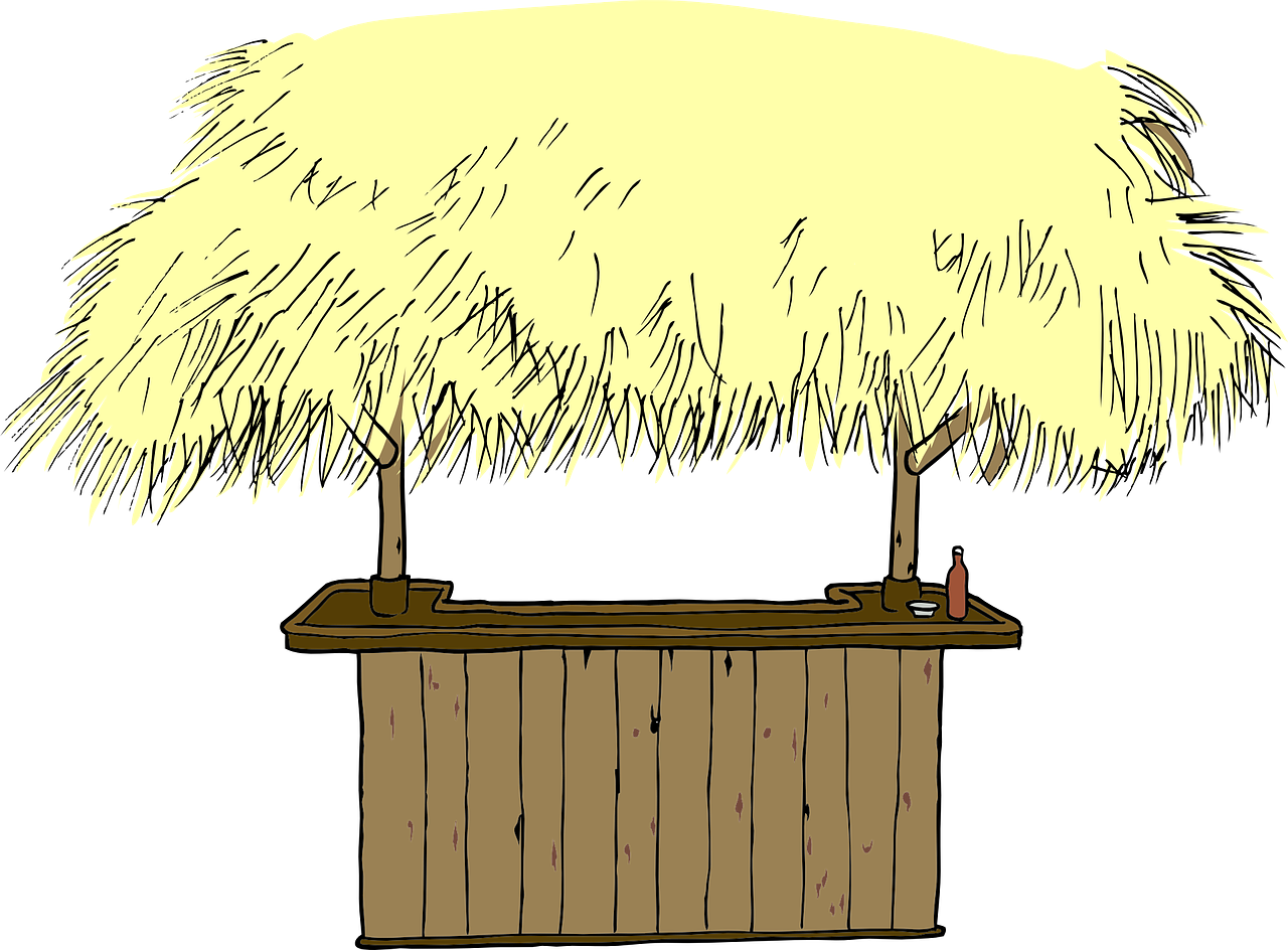 Vacation straw roof beach. Hut clipart forest