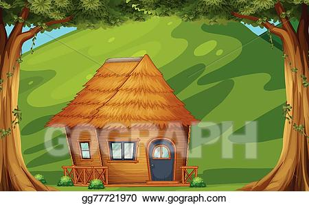 Hut clipart forest. Vector art cabin drawing