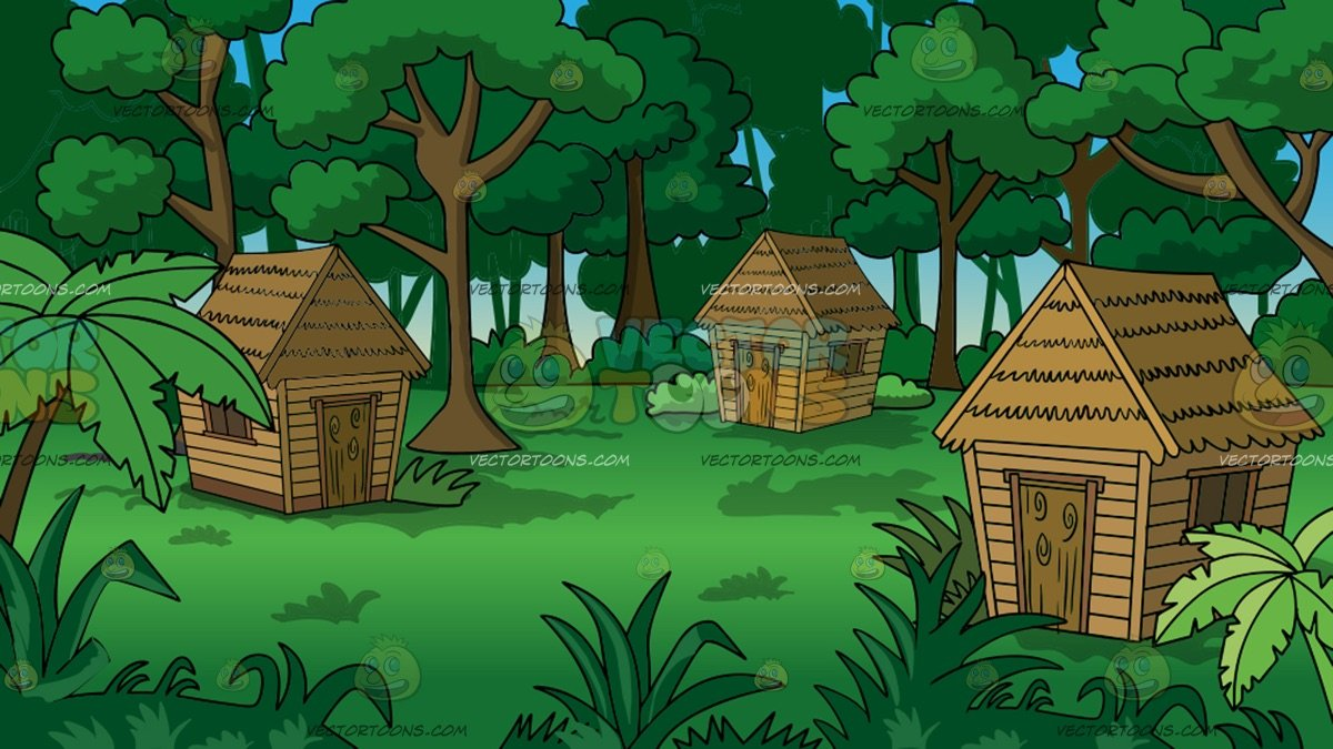 Grass huts in a. Hut clipart jungle house