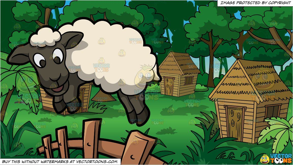 A jumping sheep and. Hut clipart jungle house