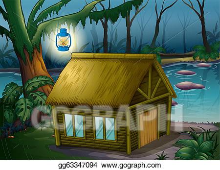 Hut clipart jungle house. Eps illustration a bamboo