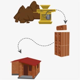 Compressed earth blocks process. Hut clipart mud hut