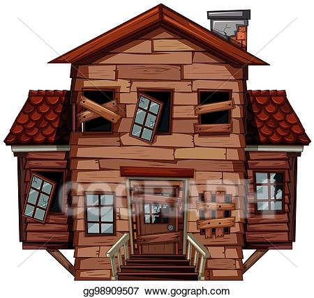 Vector art wooden house. Poverty clipart poor working condition