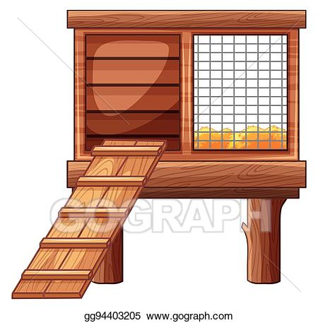 Hut clipart poultry house. Vector art chicken coop