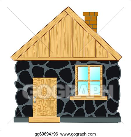 Eps vector house from. Hut clipart stone houses