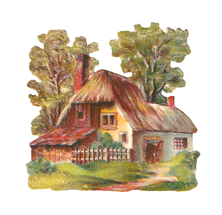 Cottage clipart thatched roof. Antique images free digital