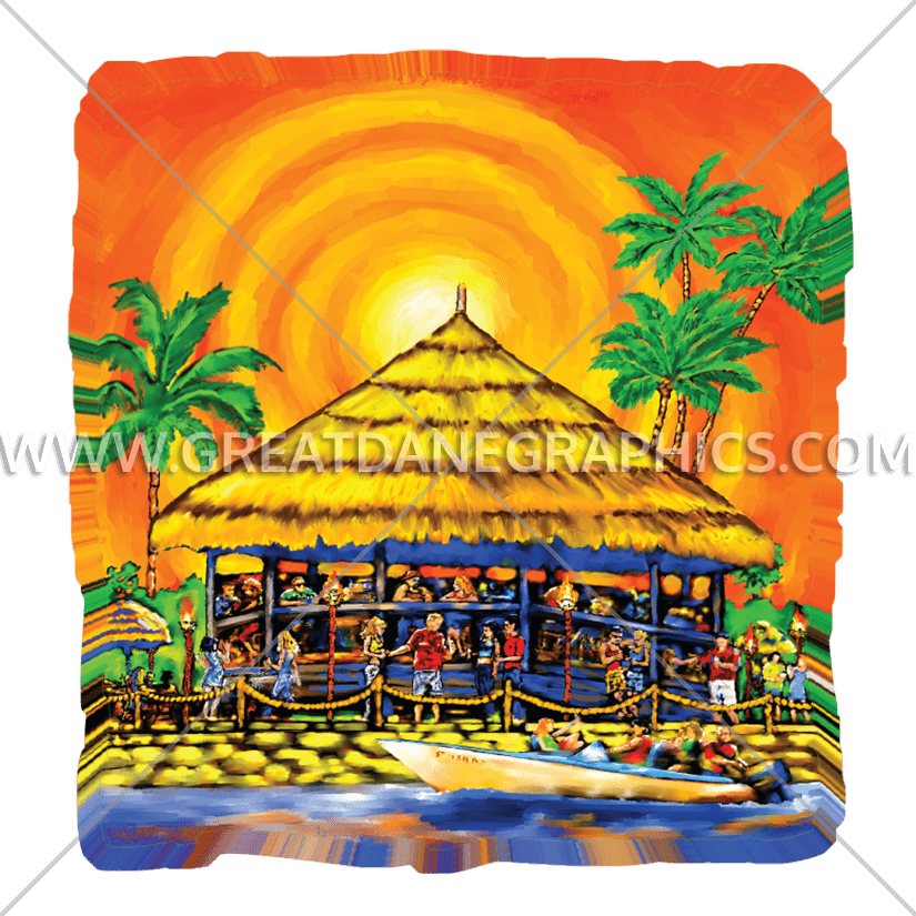 Hut clipart tiki hut. Bar production ready artwork