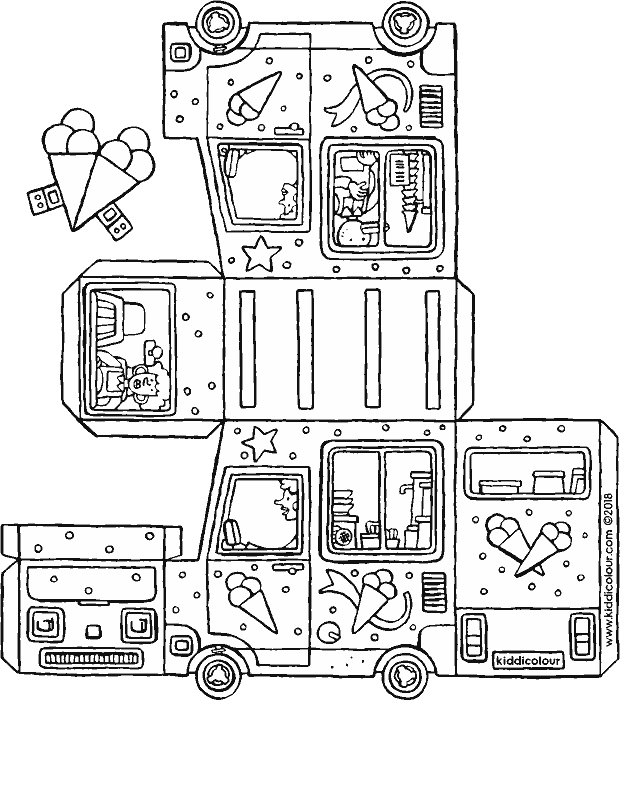 Ice clipart colouring page. Cake and cream kleurprenten