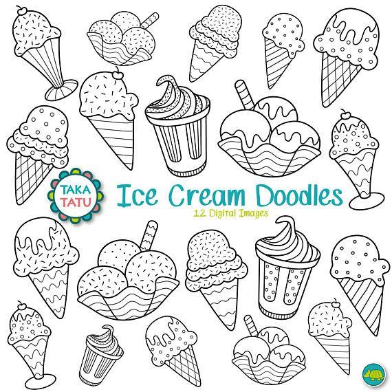 Cream doodles digital stamp. Ice clipart doodle