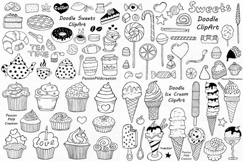 Big set of sweets. Ice clipart doodle