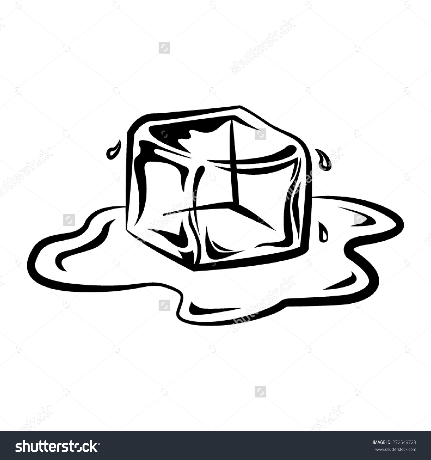 Ice clipart drawing. Black and white