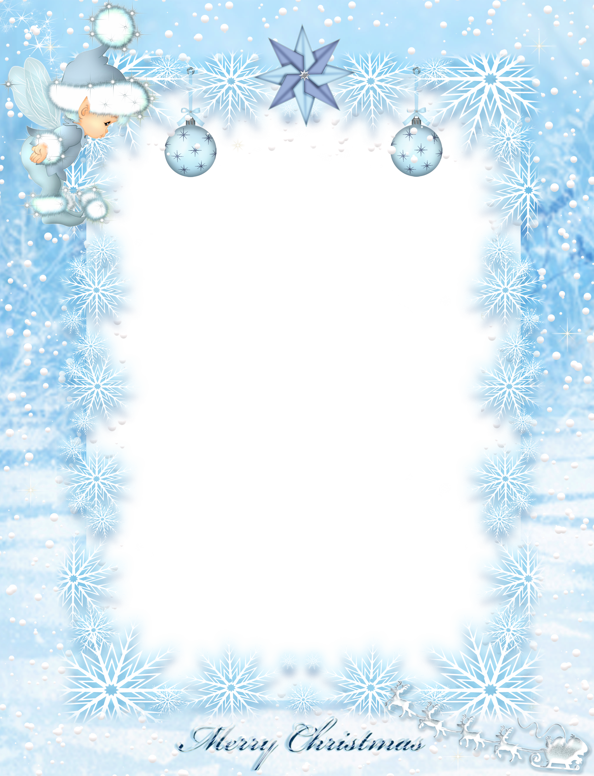Transparent kids christmas ice. Snow frame png