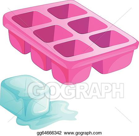 Ice clipart ice tray. Vector art a pink