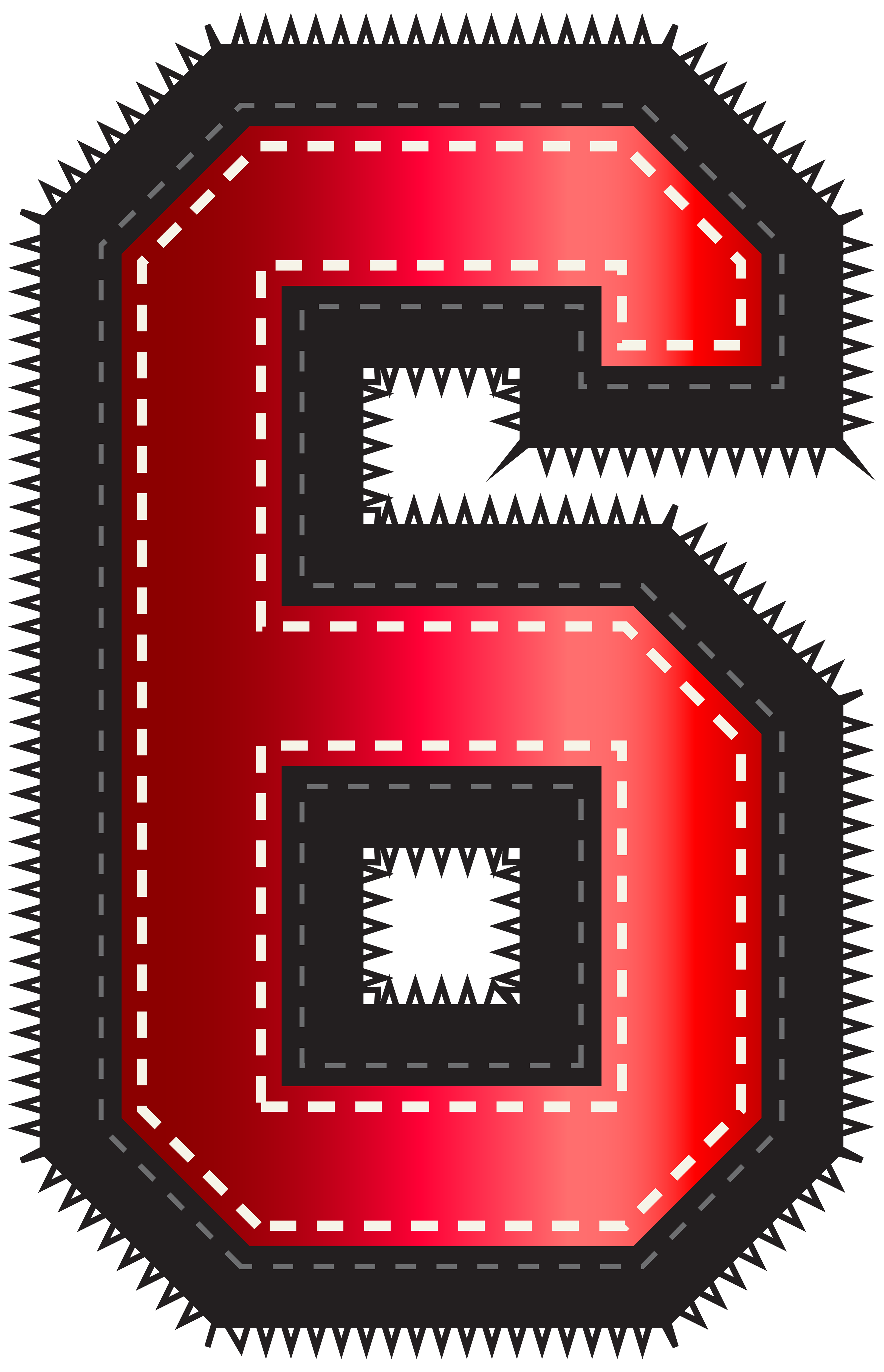 Red sport style number. Ice clipart six